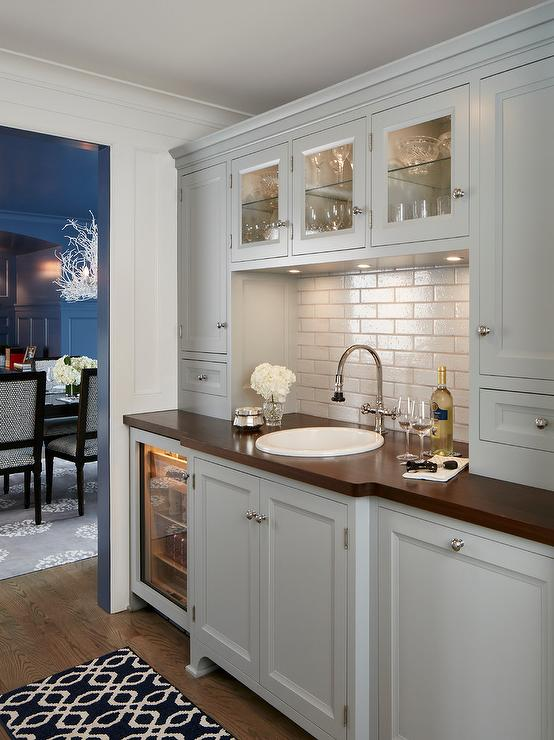 Blue Gray Butler Pantry Cabinets With Light Gay Arabesque