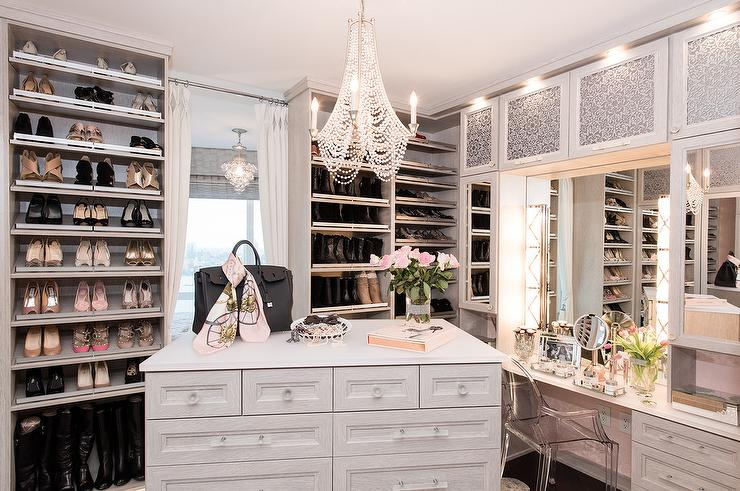 Perfect Light Gray Closet With Mirrored Makeup Vanity Cabinets
