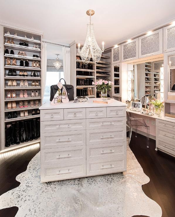 White Walk In Closet With Pink Overdyed Rug Contemporary