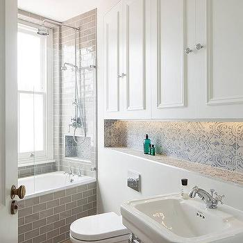 Great Blue And Gray Bathroom Design With Floating Toilet