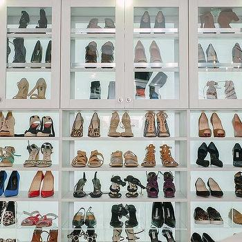 Glass Front Shoe Cabinets With Acrylic Shoe Cubbies