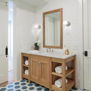 Blue Hexagon Bathroom Floor Tiles Design Ideas