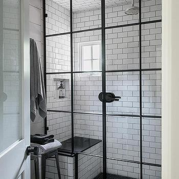 Shower Design With Black And White Tiles