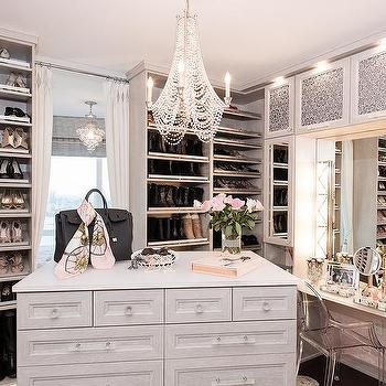 Light Gray Closet With Mirrored Makeup Vanity Cabinets
