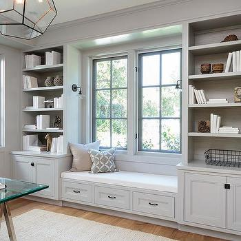 Merveilleux Light Gray Office Built In Shelves And Cabinets