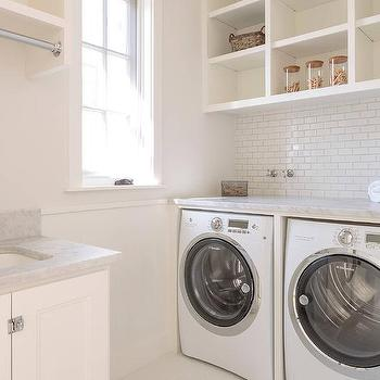 Open Shelves Above Washer And Dryer Transitional