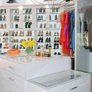 Closet Island With Glass Top And Jewelry Drawers