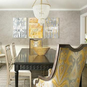 Blue dining room with black dining table and white leather for Grey and yellow dining room ideas