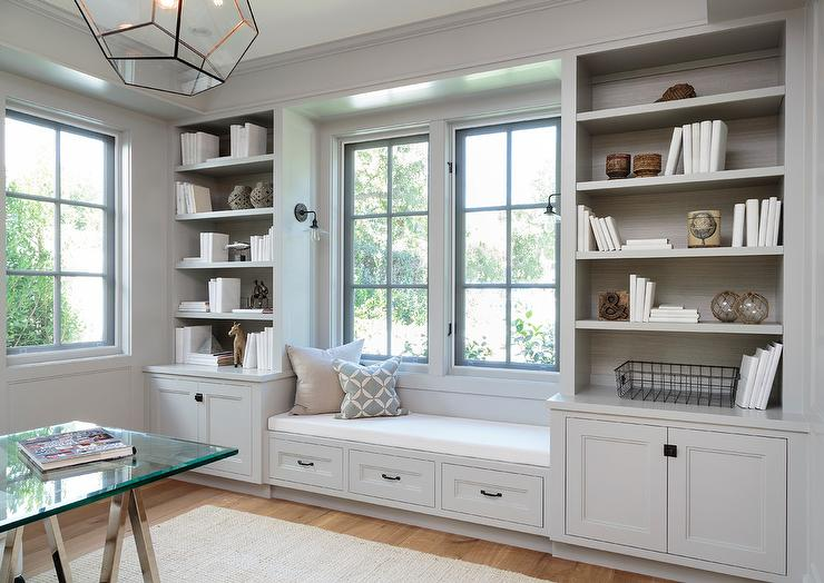 home office cabinetry design. Light Gray Office Built in Shelves and Cabinets Above In Home Design Ideas