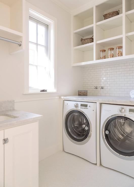 open shelves above washer and dryer transitional laundry room. Black Bedroom Furniture Sets. Home Design Ideas