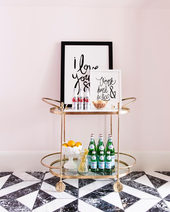 pink black white office black. Pink Office With Oval Gold Bar Cart Black White