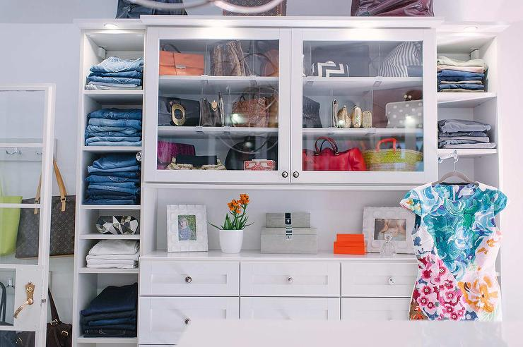Walk In Closet With Glass Front Purse Cabinets