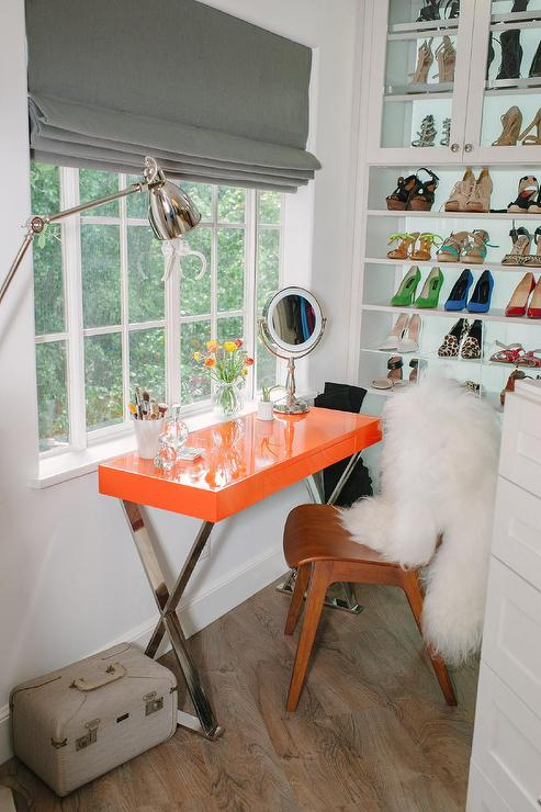 Walk In Closet With Orange X Based Makeup Vanity