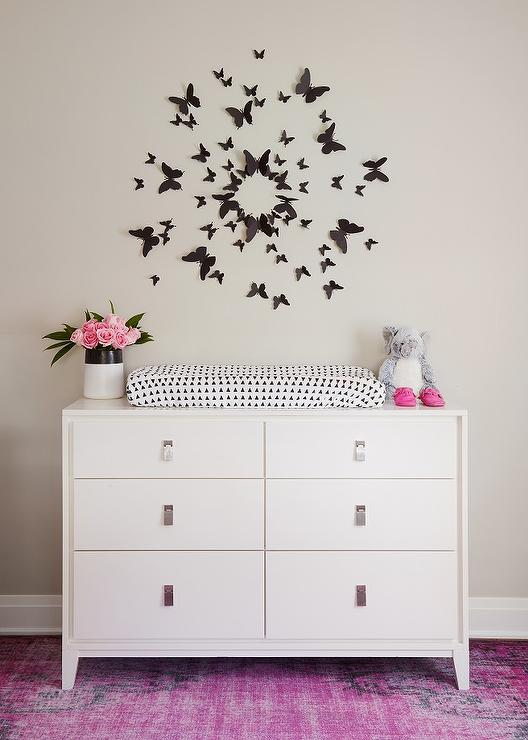 Black Butterfly Art Over Dresser Changing Table