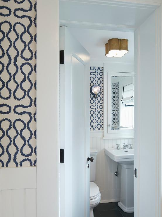 White And Blue Powder Room With Beadboard Trim