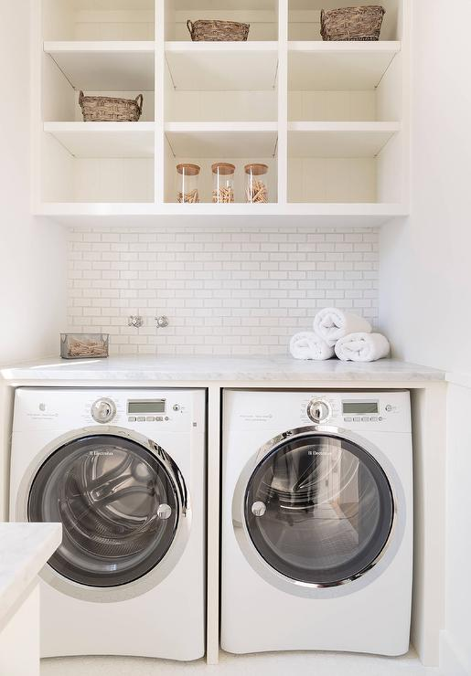 open shelves above washer and dryer transitional. Black Bedroom Furniture Sets. Home Design Ideas