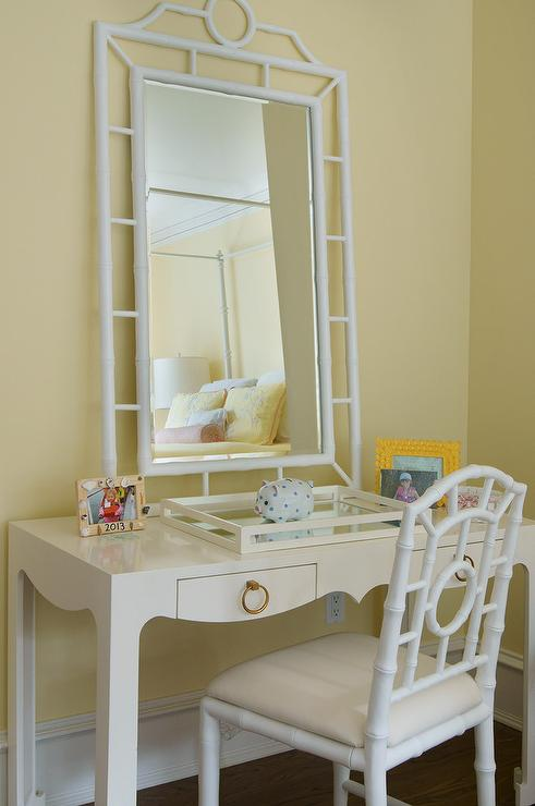 Pale Yellow Girlu0027s Bedroom Walls Highlight A Bungalow 5 Jacqui Desk  Finished With A Leaning Bungalow 5 Chloe Mirror And Seating A Bungalow 5  Chloe Side ...