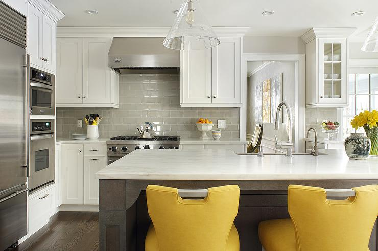 excellent white kitchen yellow accents | Taupe Kitchen Island with Dove Gray Counter Stools ...