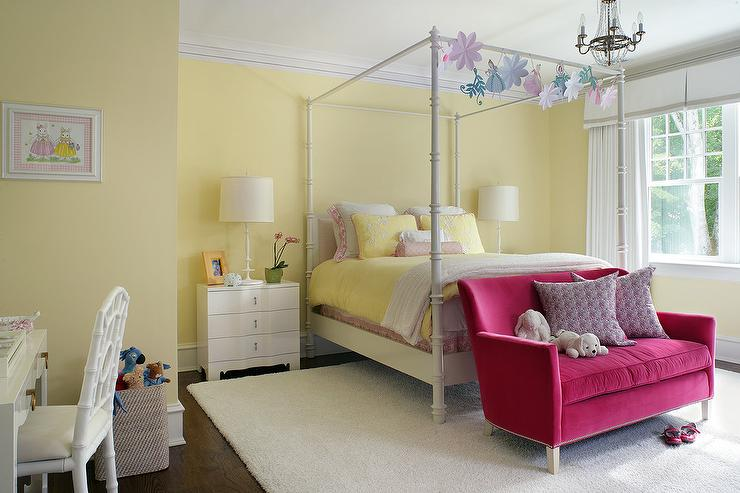 White and yellow girl bedroom with hot pink velvet for Bedroom loveseat