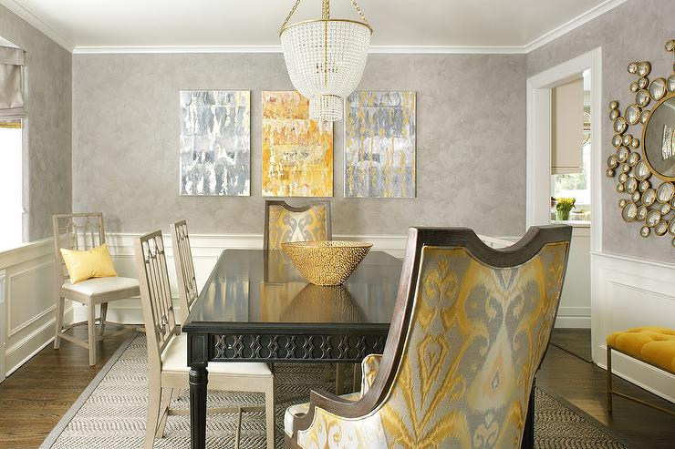 Yellow And Gray Dining Room With Wainscoting
