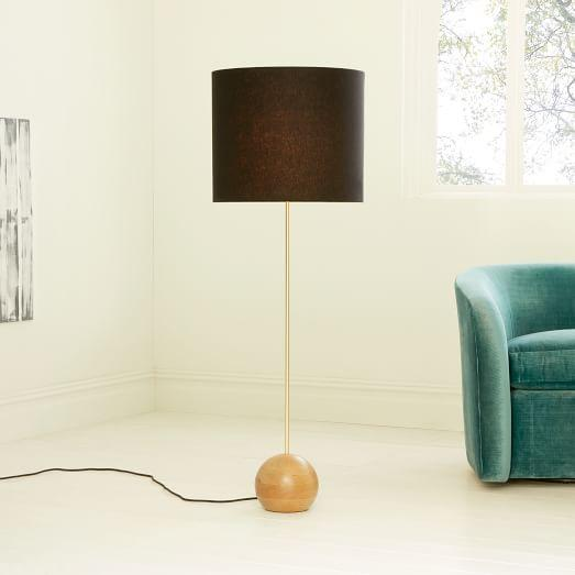 Brown linen drum thin body floor lamp aloadofball Image collections