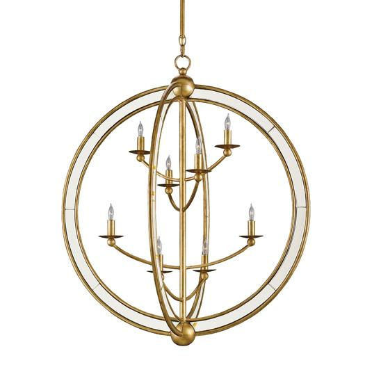Gold Lines Antique Mirror Round Candle Chandelier - Lines Antique Mirror Round Candle Chandelier