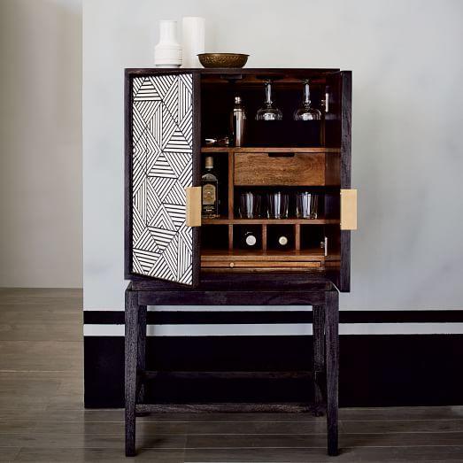 Black And White Geometric Bone Inlaid Bar Cabinet