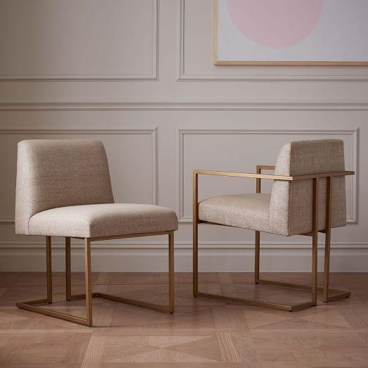 Ivory Upholstered Brass Base Dining Side Chair