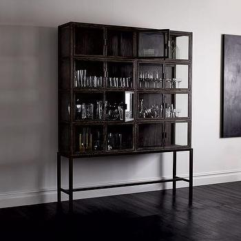 Gray Finished Wide Display Cabinet