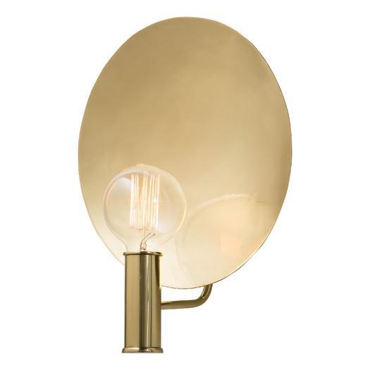 Round Polished Brass Backing Wall Sconce
