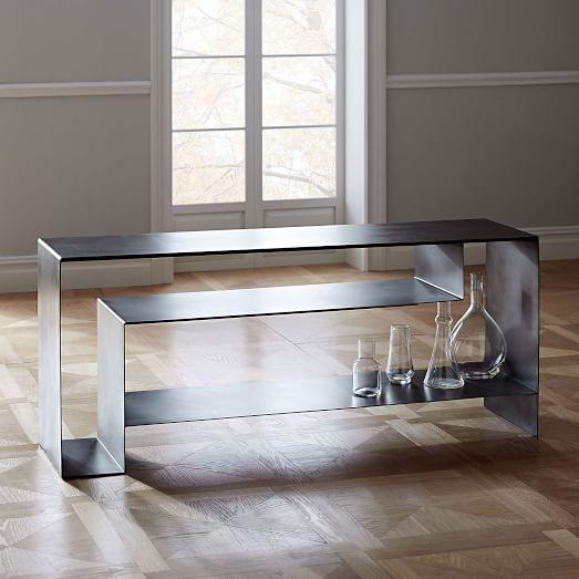 Silver Iron Open Storage Media Console