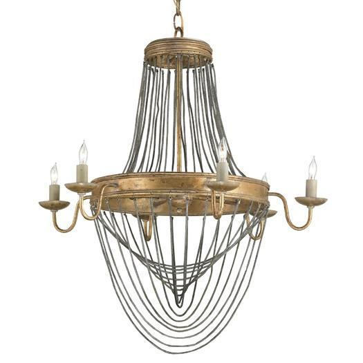 Antique Gold Leaf Six Light Chandelier - Gold Leaf Six Light Chandelier