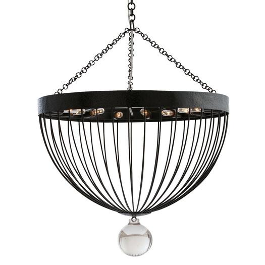 Black iron frame seeded glass sphere mini chandelier aloadofball Image collections