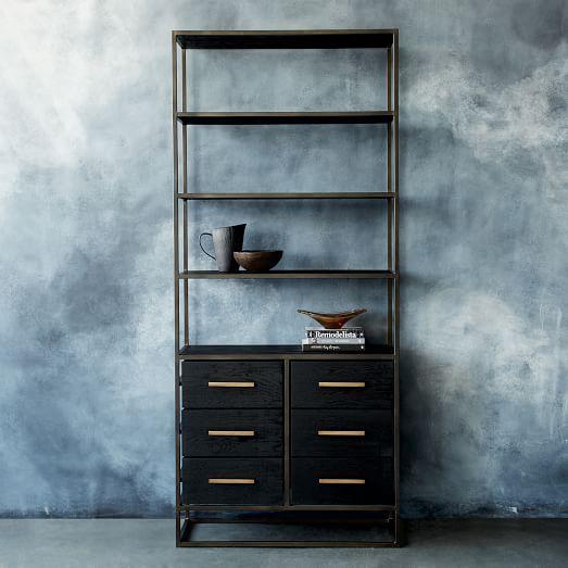 Stainless Steel 5 Black Glass Shelves Flight Bookshelf