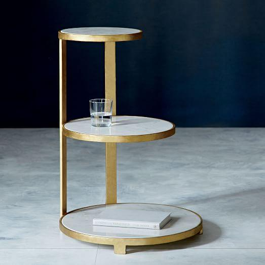 Gold Round Tiered Side Table