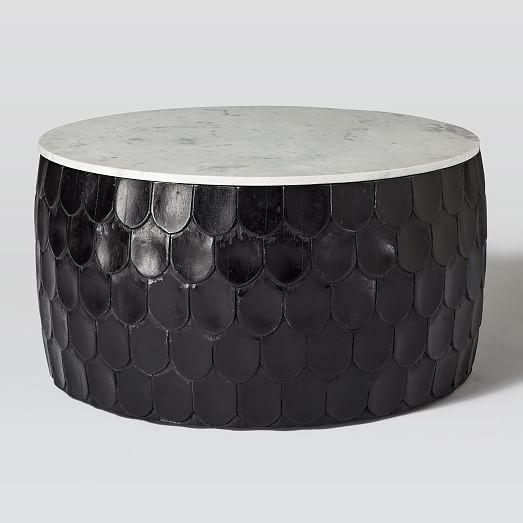 Marble Top Black Scaled Drum Coffee Table
