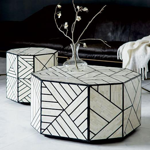 Stripe Inlay Silver And Black Coffee Table