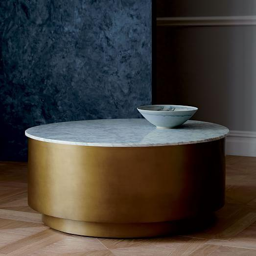 Marble Top Brass Coffee Table.Marble Top Brass Metal Drum Coffee Table