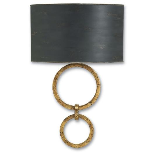 Black Shade Antique Gold Base Wall Sconce