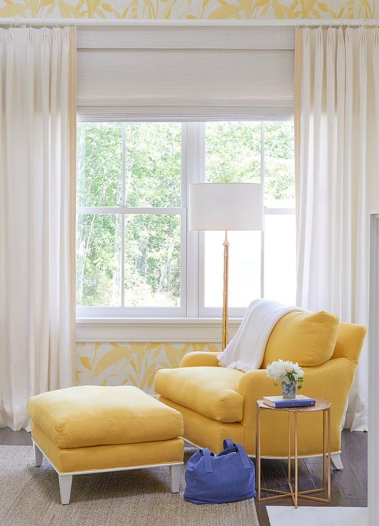 Bedroom Reading Corner with Yellow Chair and Ottoman ...