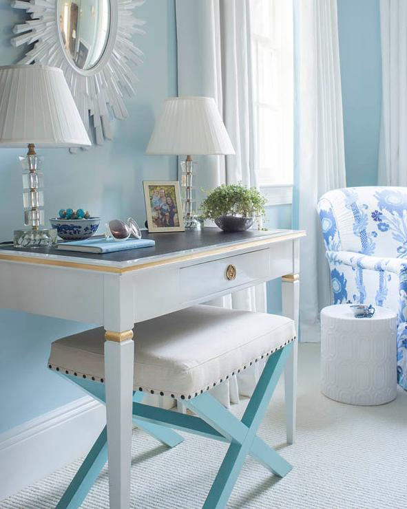 Blue Bedroom with Gray French Desk and Turquoise X Stool ...