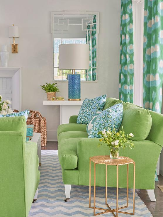 Blue and Green Living Room with Blue Chevron Rug ...