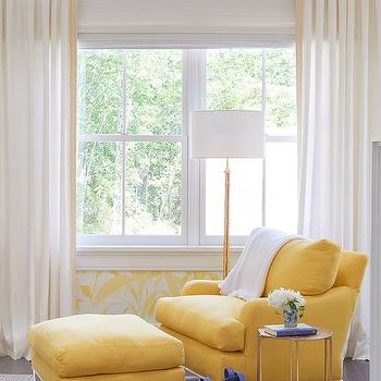 Bedroom Reading Corner With Yellow Chair And Ottoman