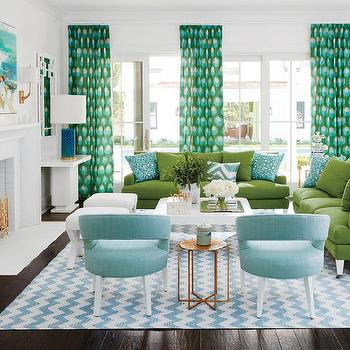 Blue And Green Living Room With Chevron Rug