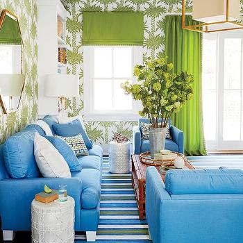 Blue and Green Living Room with Red Rattan Coffee Table