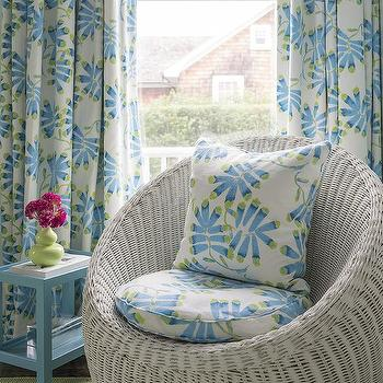 gray wicker pod chair with blue accent table - Light Blue Accent Chair