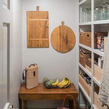 Rustic Kitchen Pantry With Gray Open Shelving