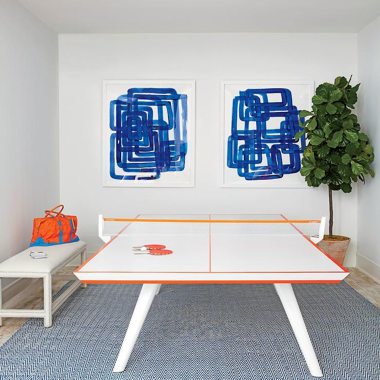 Orange and blue game room with 11 ravens ping pong table contemporary media room - Space needed for a ping pong table ...