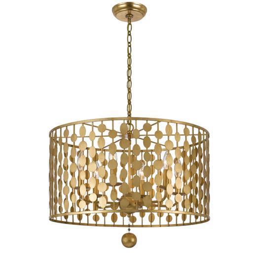 Gold disks six light drum chandelier aloadofball Gallery