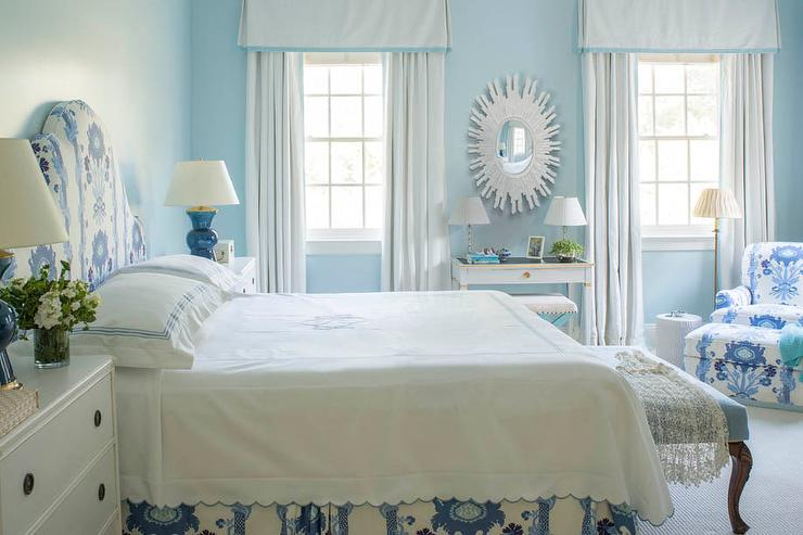 white and blue bedroom with gray french desk and white 18362 | white blue bedroom pleated valance